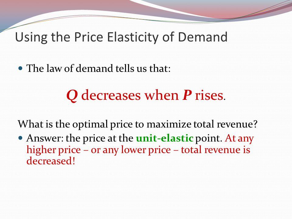 Using the Price Elasticity of Demand