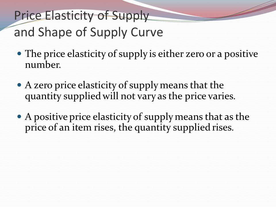 Price Elasticity of Supply and Shape of Supply Curve