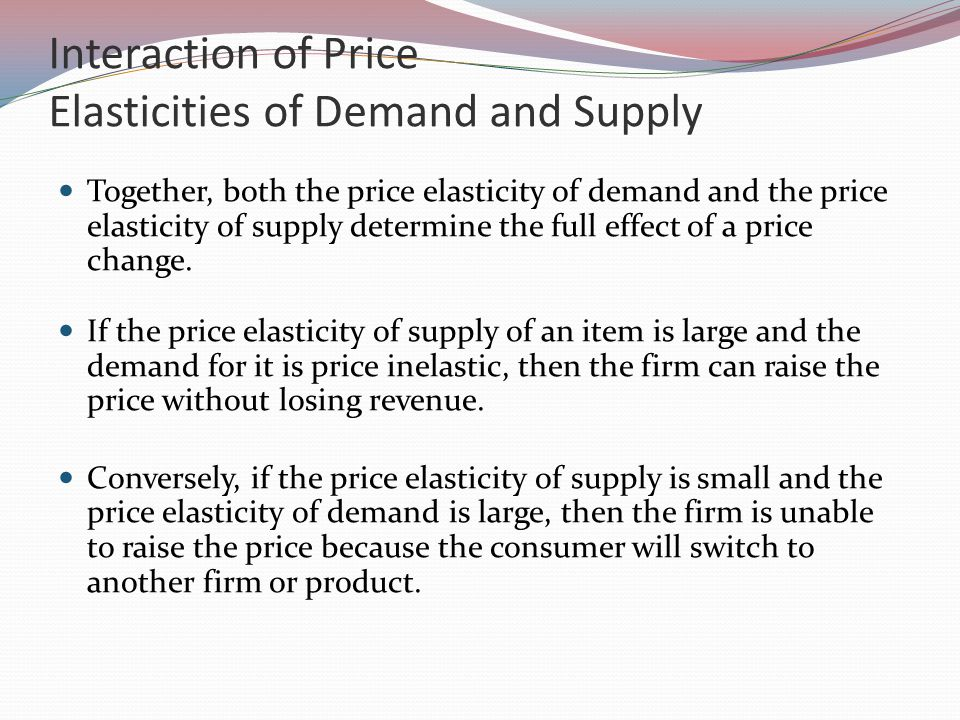 Interaction of Price Elasticities of Demand and Supply