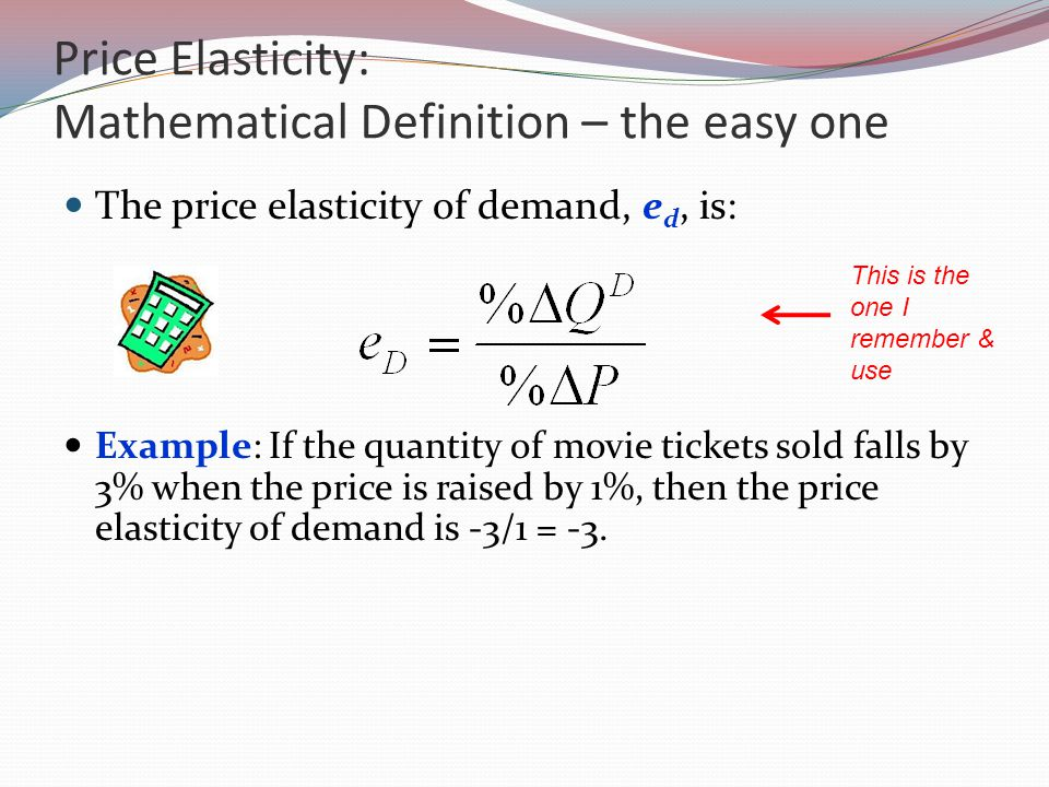 Price Elasticity: Mathematical Definition – the easy one