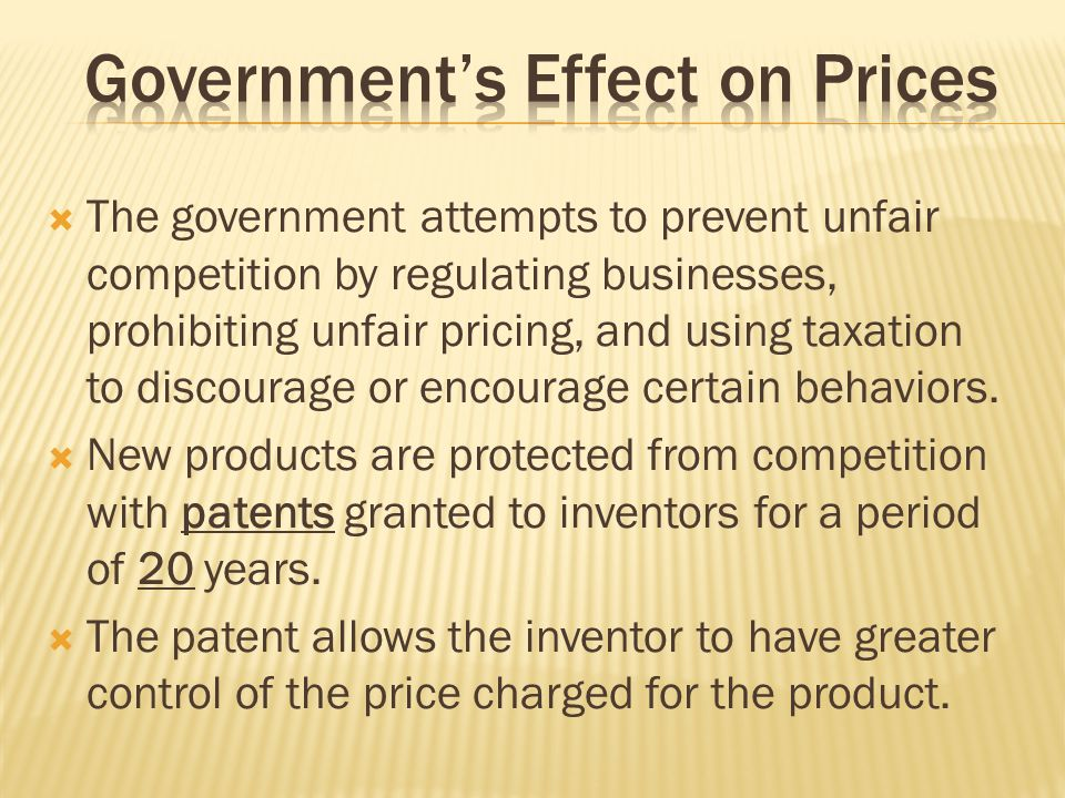 Government's Effect on Prices
