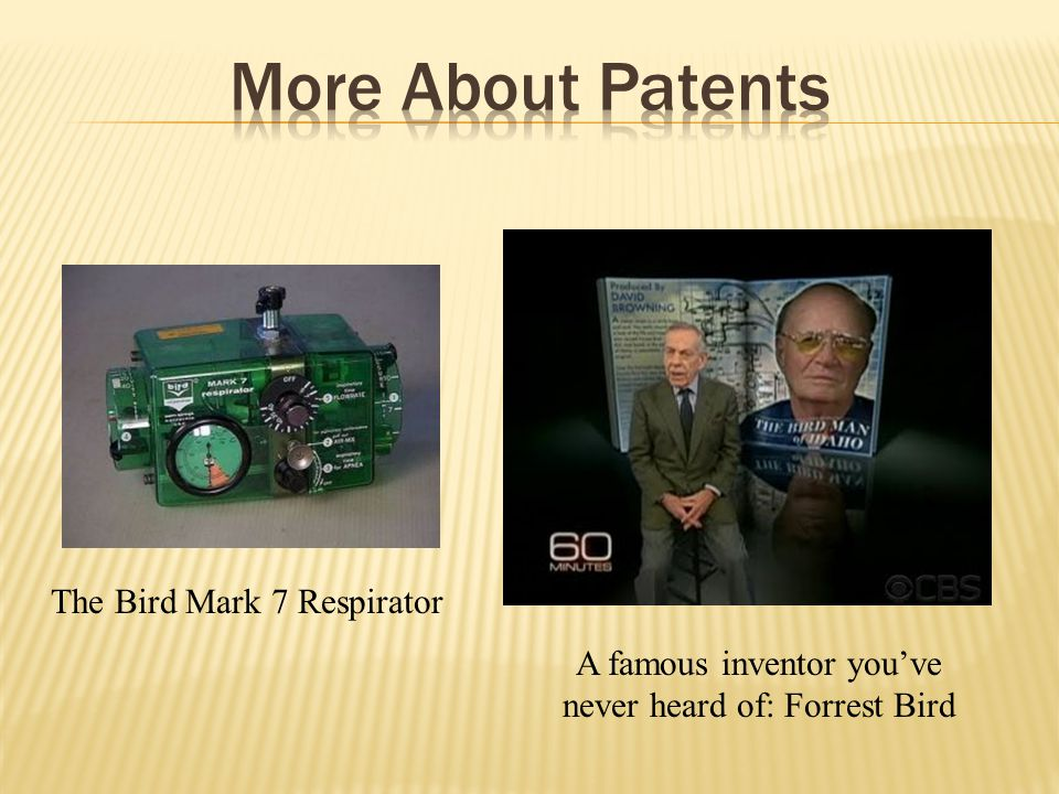 More About Patents The Bird Mark 7 Respirator