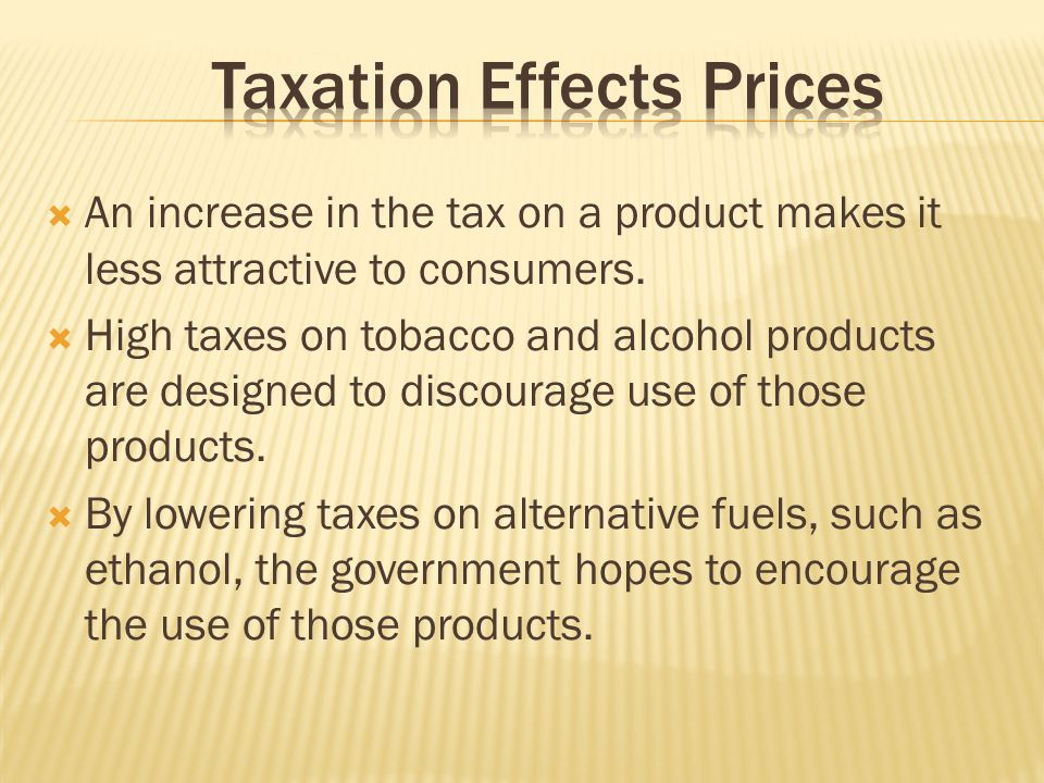 Taxation Effects Prices