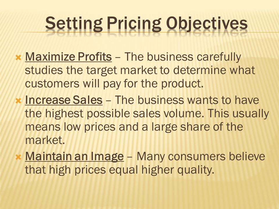 Setting Pricing Objectives