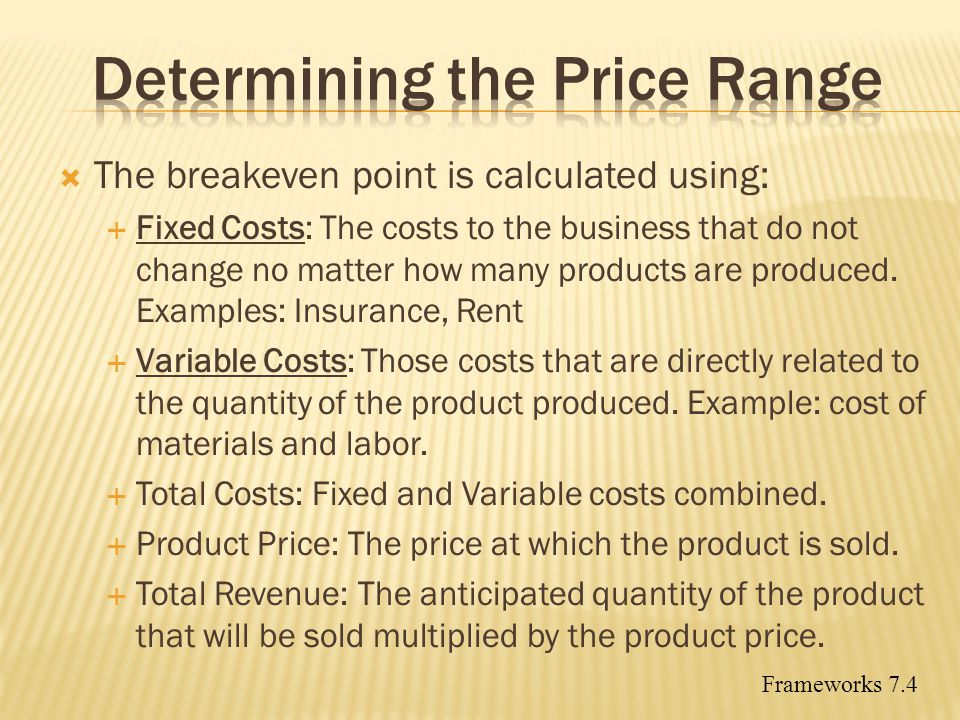 Determining the Price Range