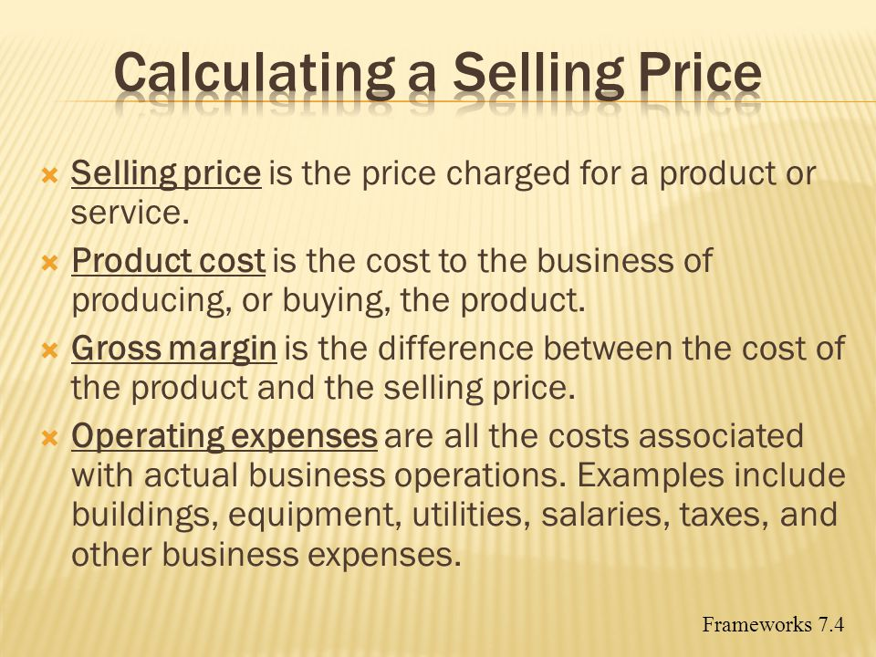 Calculating a Selling Price