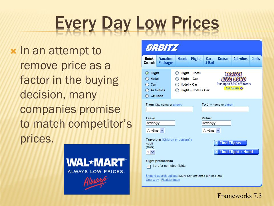 Every Day Low Prices In an attempt to remove price as a factor in the buying decision, many companies promise to match competitor's prices.