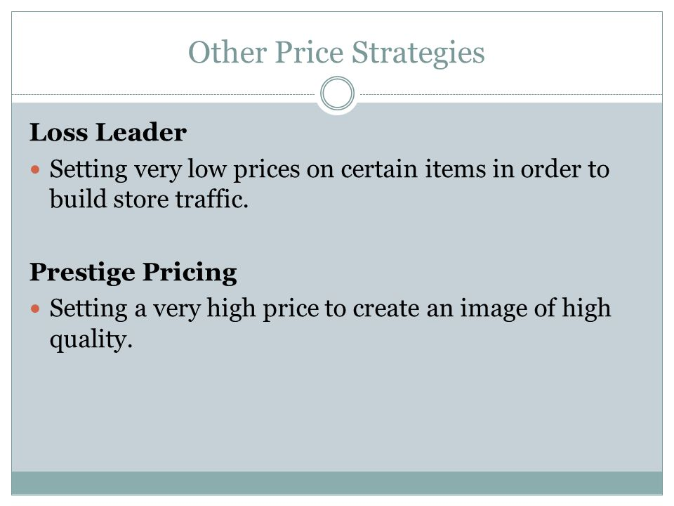 Other Price Strategies