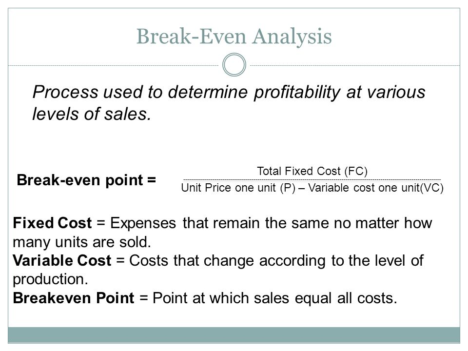 Unit Price one unit (P) – Variable cost one unit(VC)