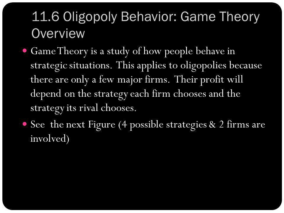 11.6 Oligopoly Behavior: Game Theory Overview