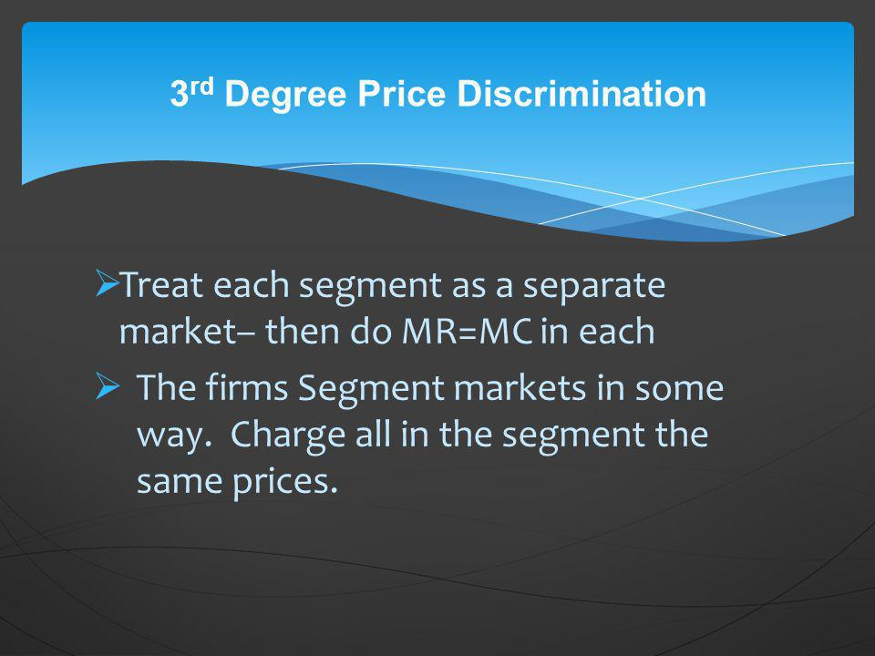 3rd Degree Price Discrimination