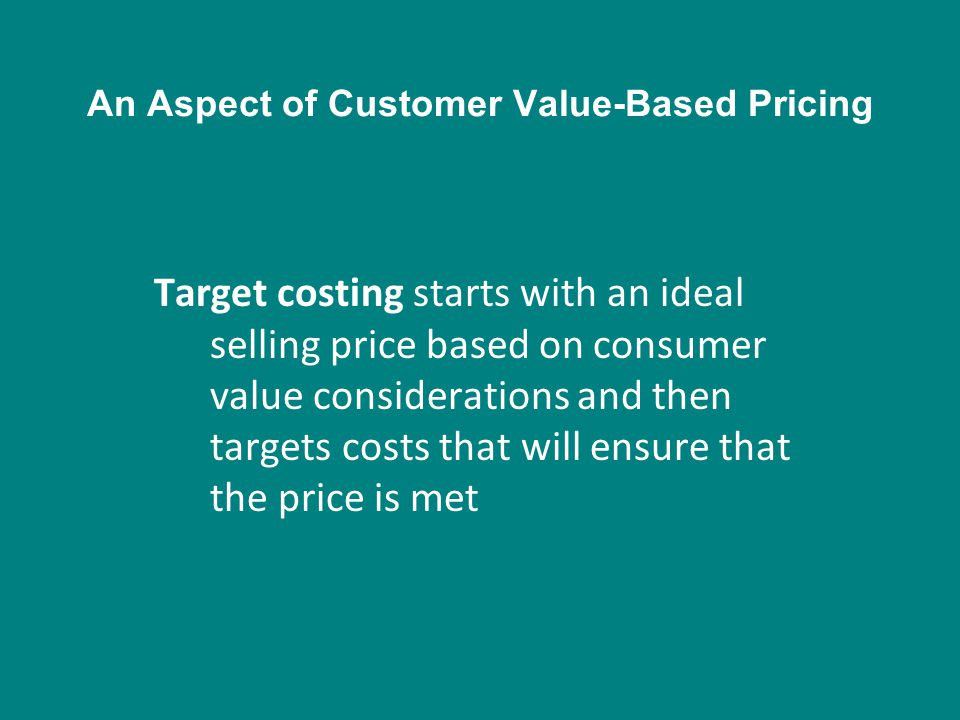 An Aspect of Customer Value-Based Pricing