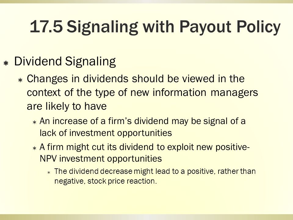 17.5 Signaling with Payout Policy