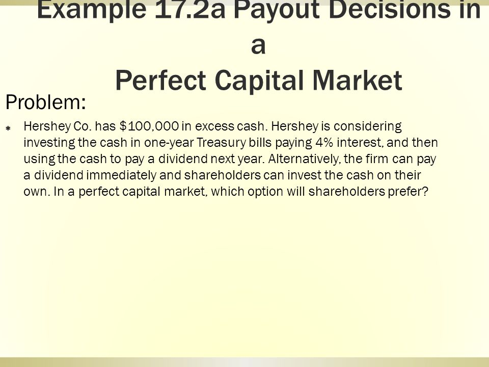 Example 17.2a Payout Decisions in a Perfect Capital Market