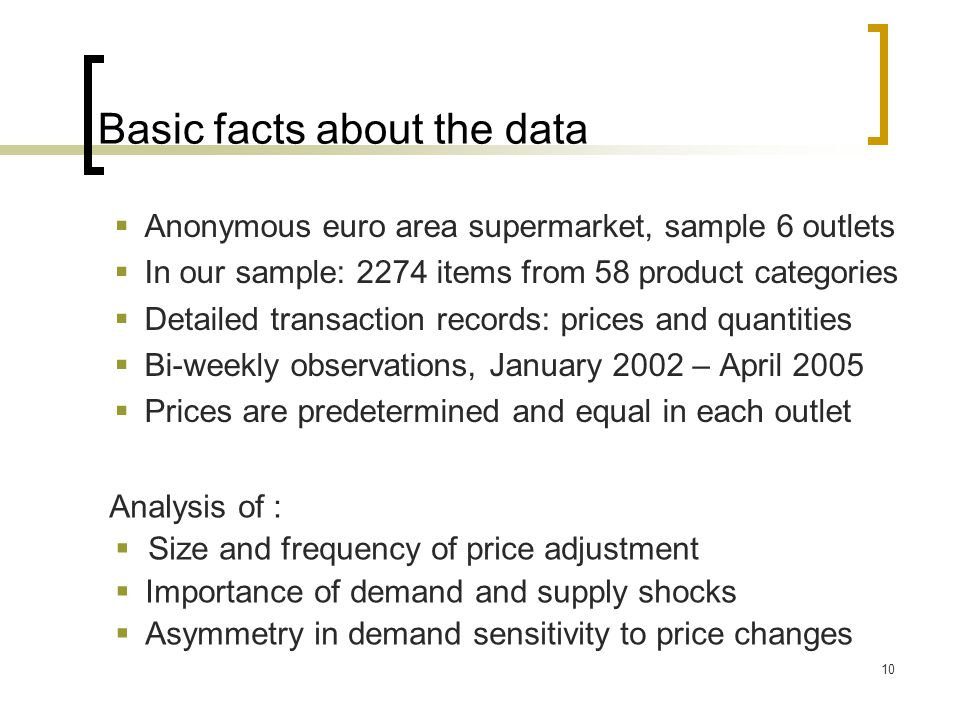 Basic facts about the data