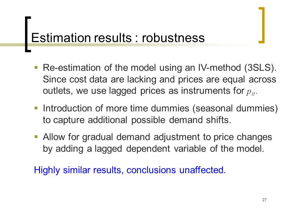 Estimation results : robustness