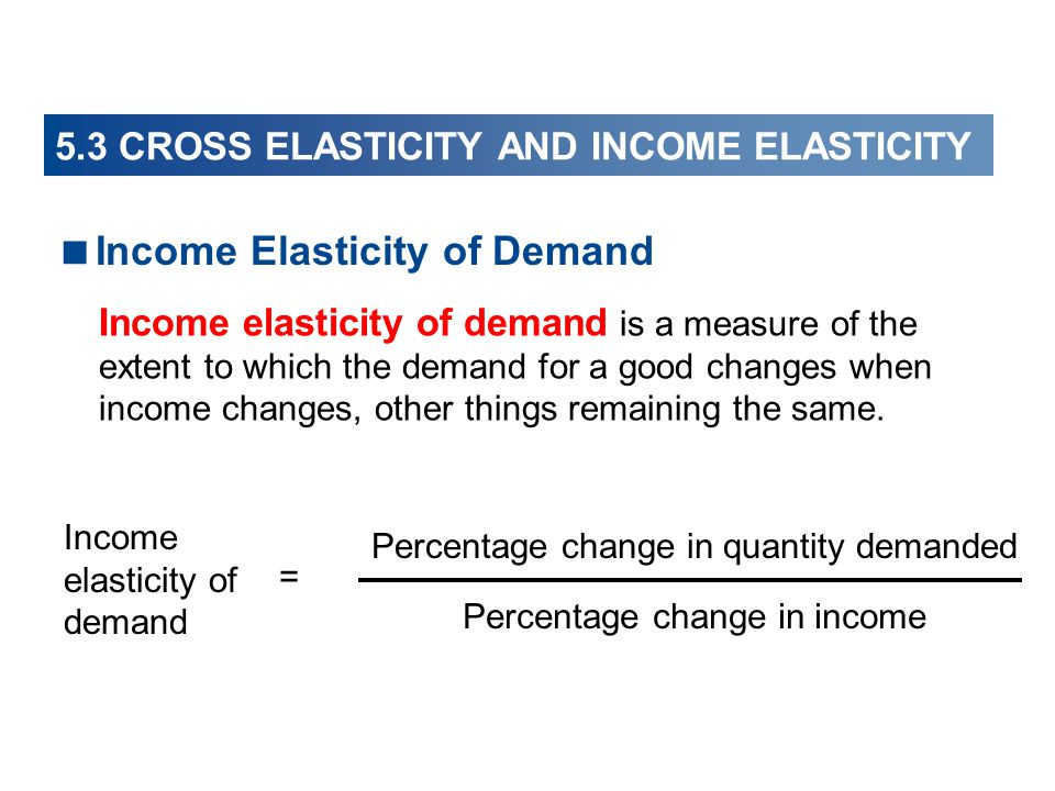 5.3 CROSS ELASTICITY AND INCOME ELASTICITY