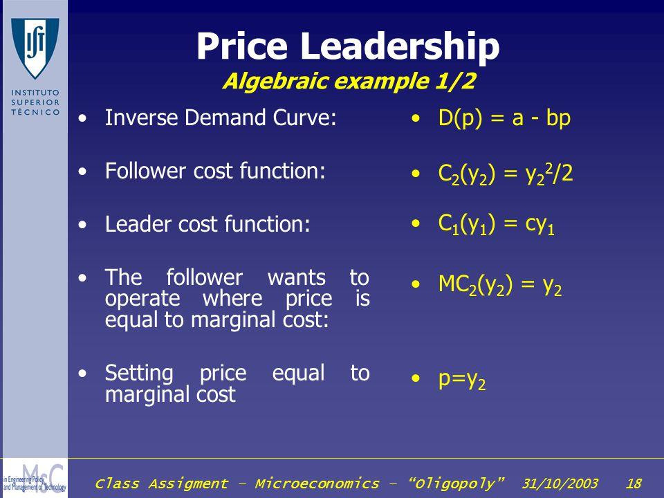 Price Leadership Algebraic example 1/2