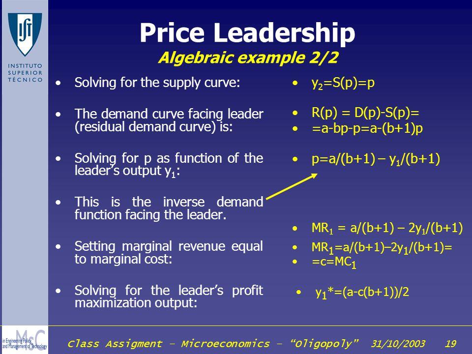 Price Leadership Algebraic example 2/2