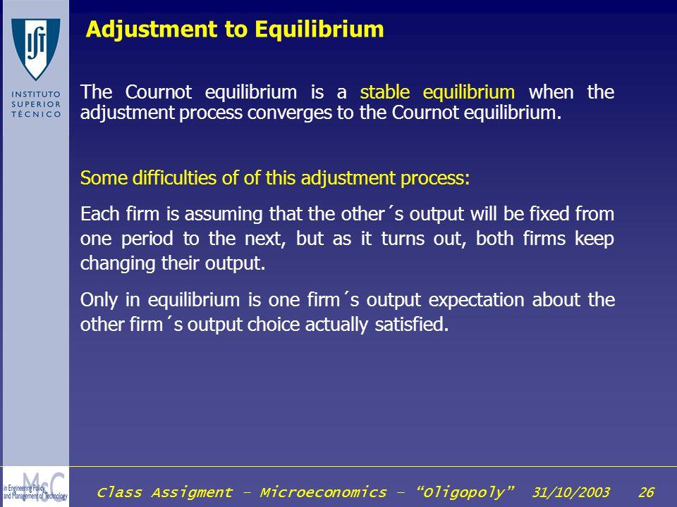 Adjustment to Equilibrium