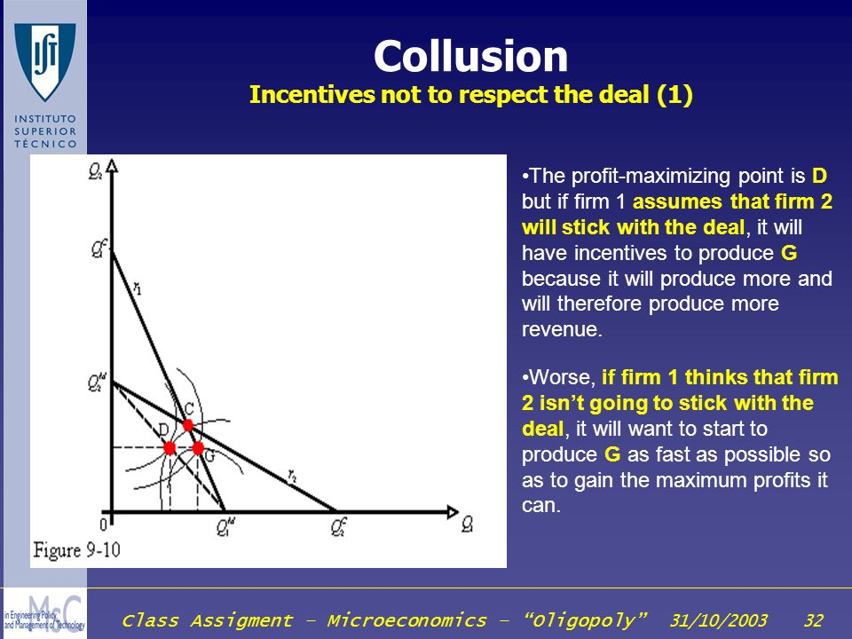 Collusion Incentives not to respect the deal (1)