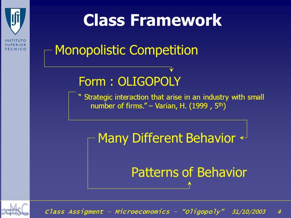 Class Framework Monopolistic Competition Many Different Behavior