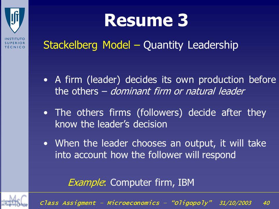 Resume 3 Stackelberg Model – Quantity Leadership