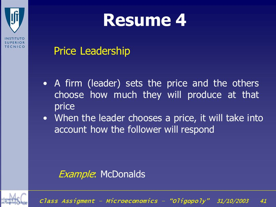 Resume 4 Price Leadership