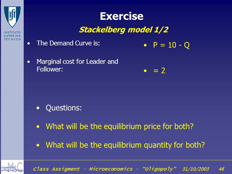 Exercise Stackelberg model 1/2