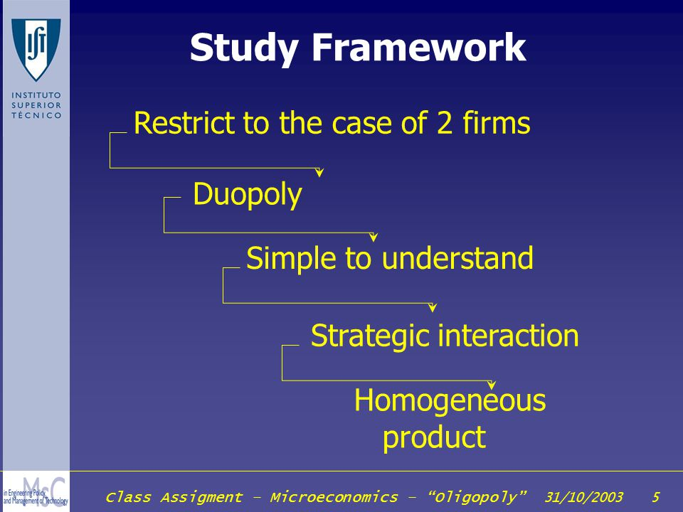 Study Framework Restrict to the case of 2 firms Duopoly