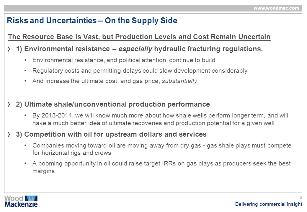Risks and Uncertainties – On the Supply Side