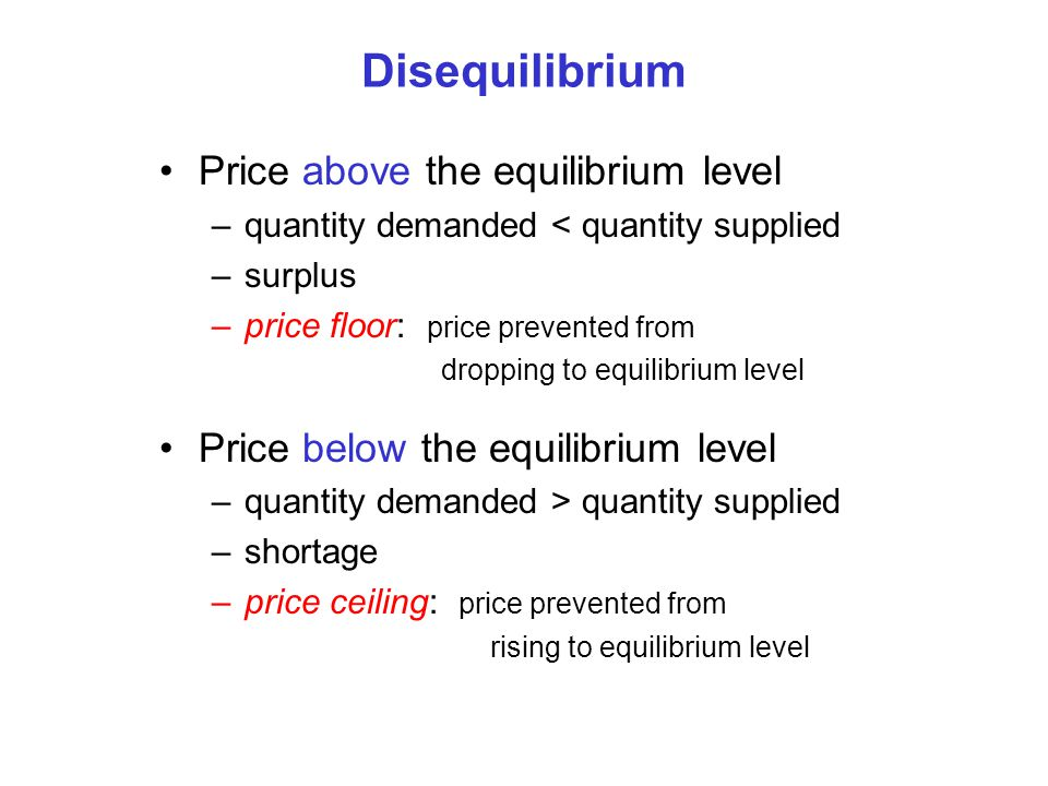 Disequilibrium Price above the equilibrium level