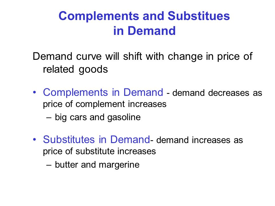 Complements and Substitues in Demand