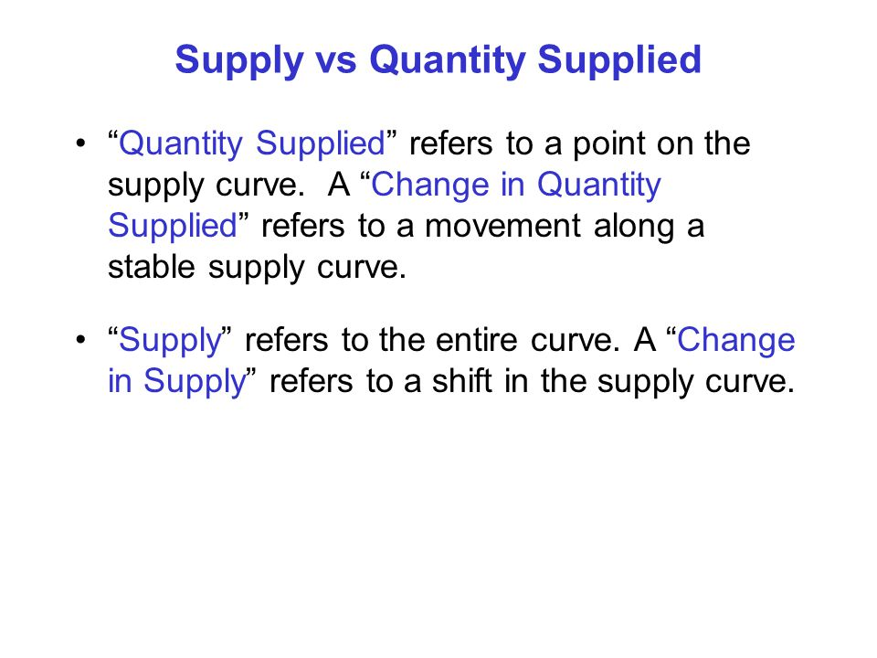 Supply vs Quantity Supplied