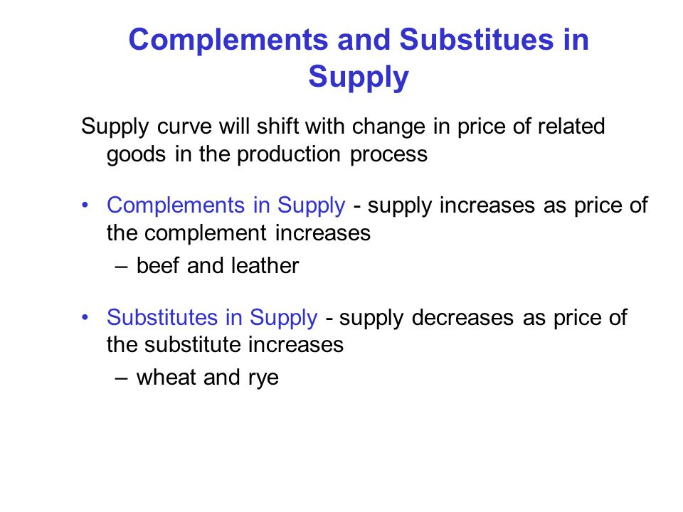 Complements and Substitues in Supply