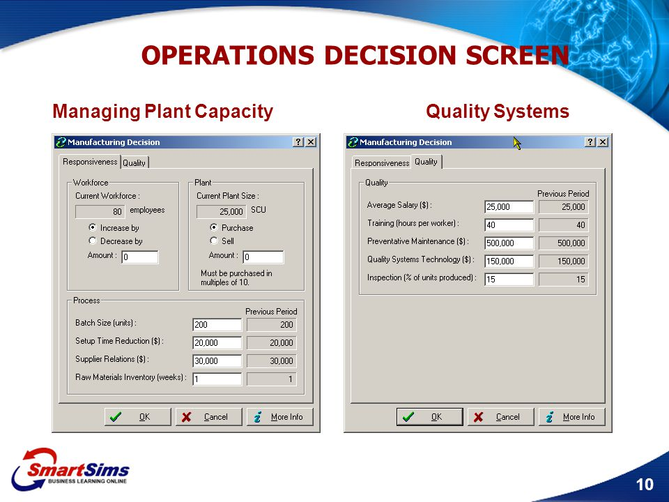 OPERATIONS DECISION SCREEN