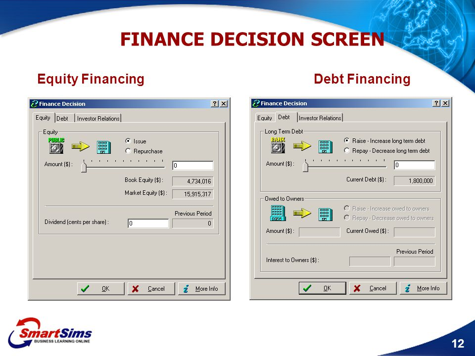 FINANCE DECISION SCREEN