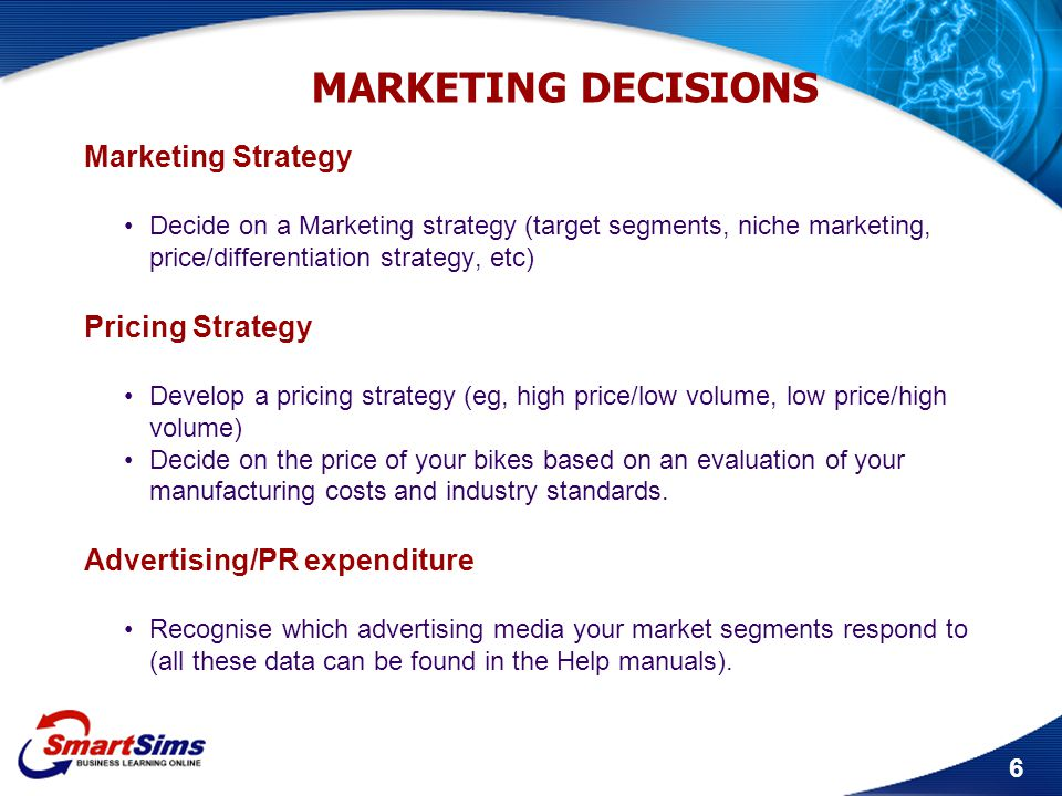 MARKETING DECISIONS Marketing Strategy Pricing Strategy
