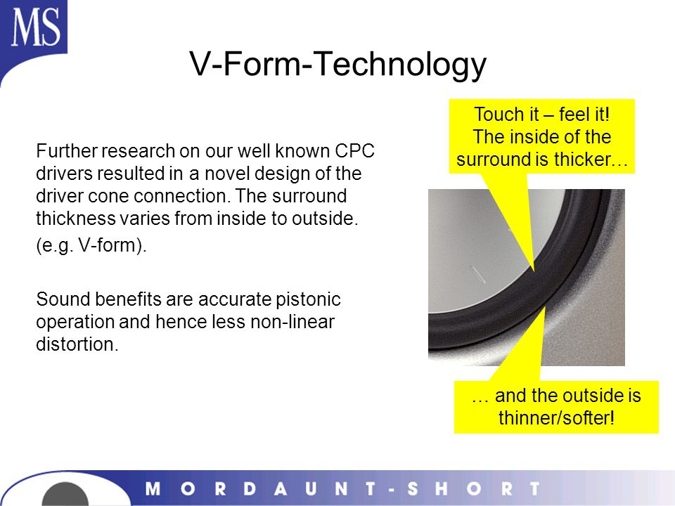 V-Form-Technology Touch it – feel it! The inside of the surround is thicker…