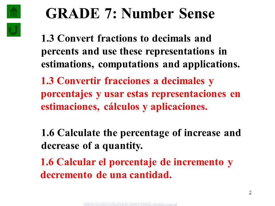 GRADE 7: Number Sense 1.3 Convert fractions to decimals and percents and use these representations in estimations, computations and applications.