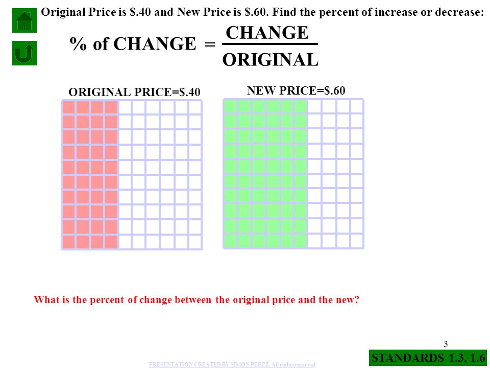 CHANGE % of CHANGE = ORIGINAL