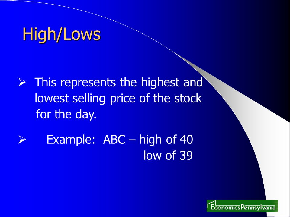 High/Lows This represents the highest and