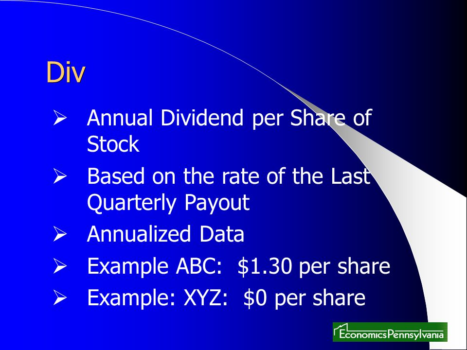 Div Annual Dividend per Share of Stock