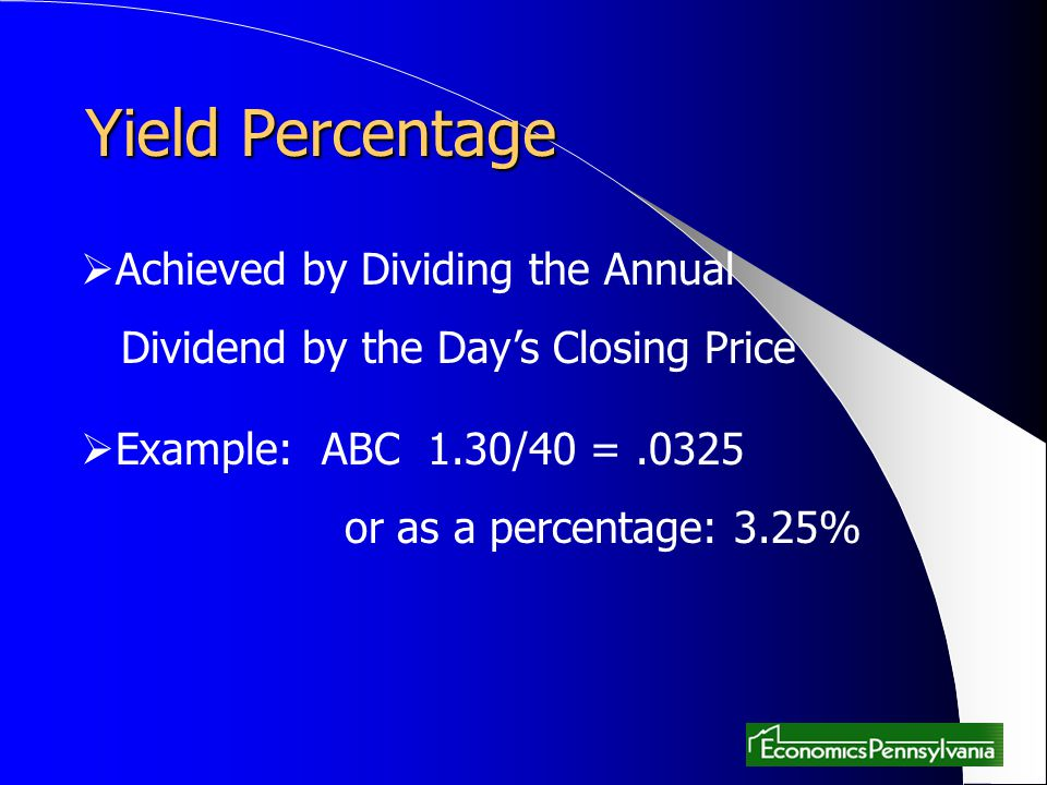 Yield Percentage Achieved by Dividing the Annual
