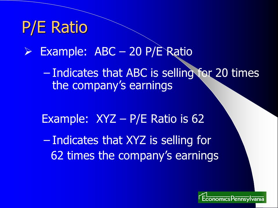 P/E Ratio Example: ABC – 20 P/E Ratio