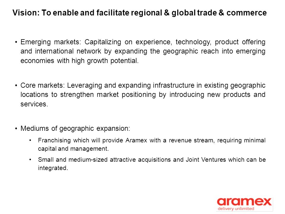 Vision: To enable and facilitate regional & global trade & commerce