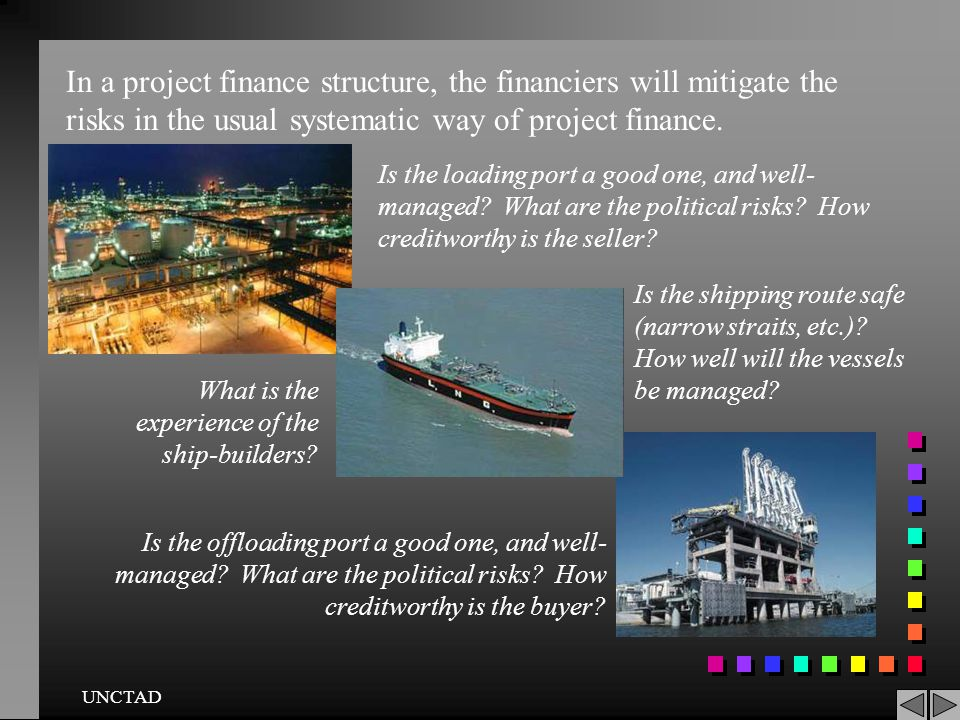 In a project finance structure, the financiers will mitigate the risks in the usual systematic way of project finance.