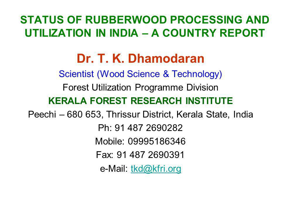 KERALA FOREST RESEARCH INSTITUTE