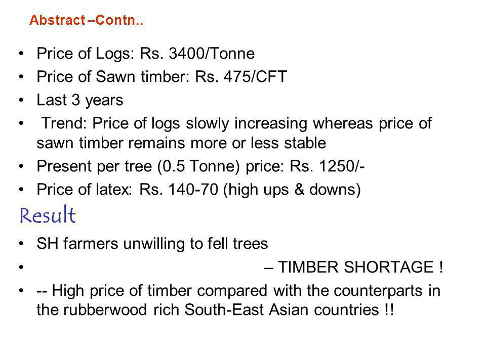 Result Price of Logs: Rs. 3400/Tonne Price of Sawn timber: Rs. 475/CFT
