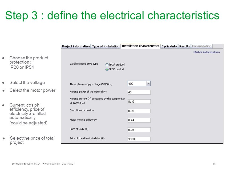 Step 3 : define the electrical characteristics